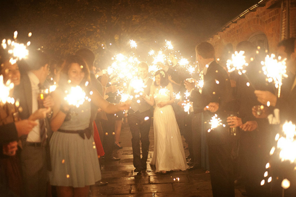 Sparklers at Dodmoor House wedding venue in Northamptonshire