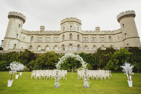 Set up for an outdoor ceremony at Eastnor Castle wedding venue in Herefordshire | CHWV