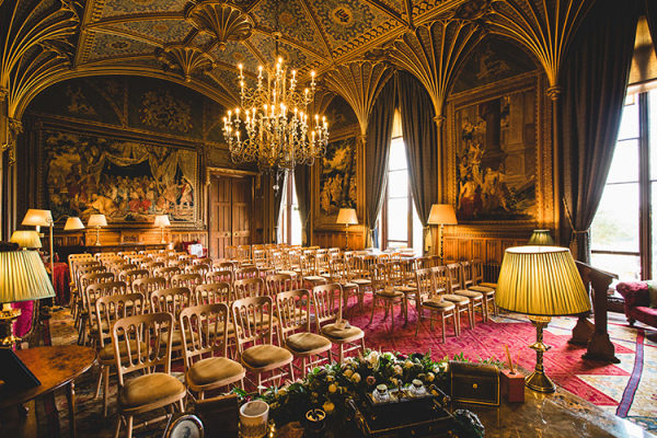 Set up for a wedding ceremony at Eastnor Castle wedding venue in Herefordshire | CHWV