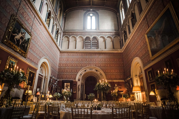 Set up for a wedding breakfast at Eastnor Castle wedding venue in Herefordshire | CHWV