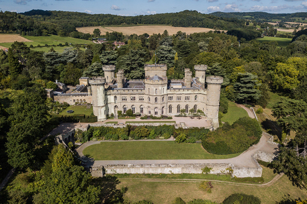 An aerial view of Eastnor Castle and it's beautiful grounds wedding venue in Herefordshire | CHWV