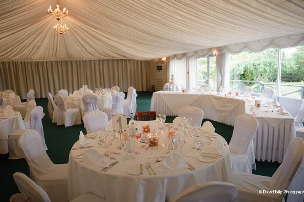 The marquee at Fennes set up for a wedding reception