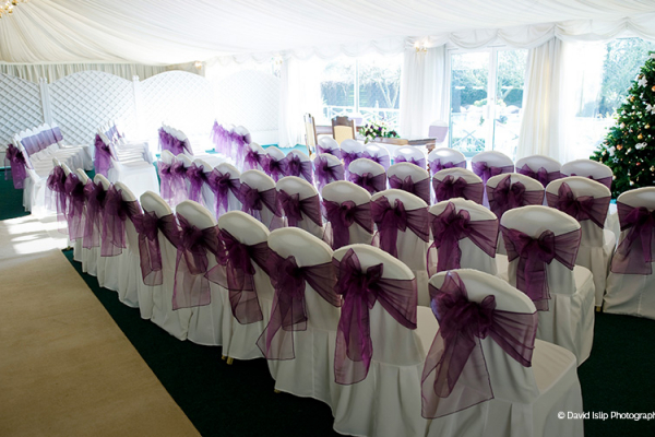 The marquee at Fennes set up for a wedding ceremony
