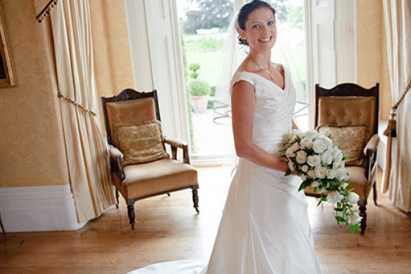 A pretty bride ready for her wedding ceremony at Fennes
