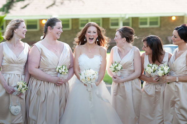 A bride and her maids at Fontwell Park wedding venue