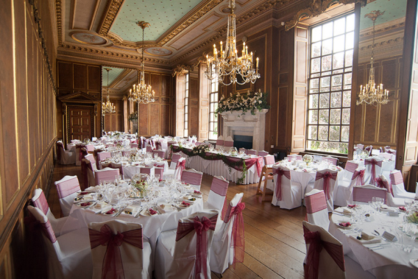 Gosfield Hall wedding venue set up for a reception
