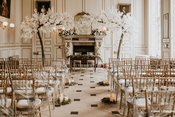 Set up for a wedding ceremony at Gosfield Hall wedding venue in Essex | CHWV