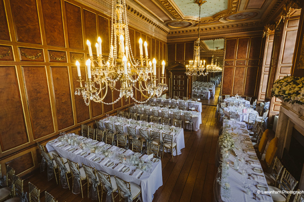 Set up for a wedding breakfast at Gosfield Hall wedding venue in Essex | CHWV