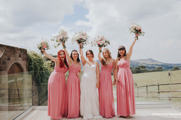 Bride and Bridesmaids at Heaton House Farm | Wedding Venues Cheshire