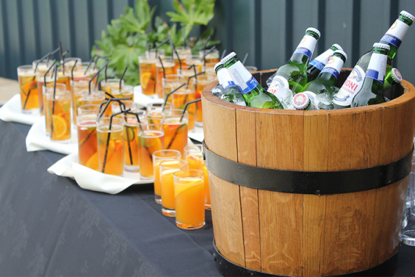 Outdoor Drinks Reception at Heaton House - Barn Wedding Venue in Cheshire