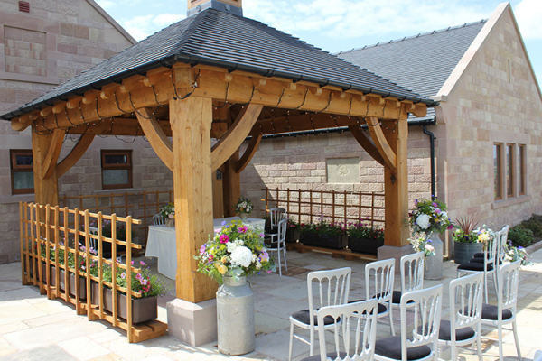 The hand-crafted Oak Pagoda at Heaton House - Barn Wedding Venue in Cheshire
