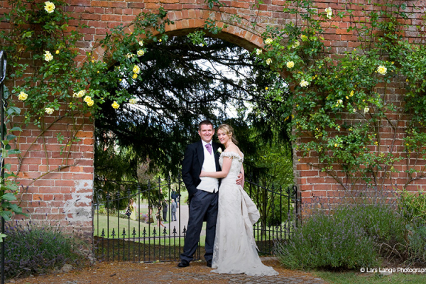 Couple in the Grounds of Homme House - Country House Wedding Venue in Herefordshire