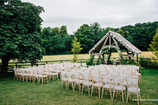 All Set For An Outside Ceremony At Hyde Barn