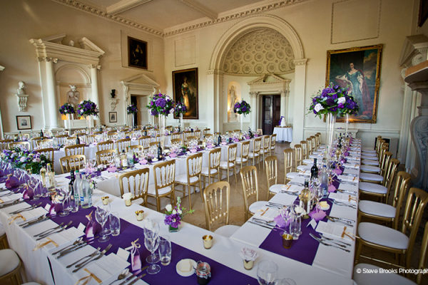 Setup for a Wedding Breakfast at Kirtlington Park - Country House Wedding Venue in Oxfordshire