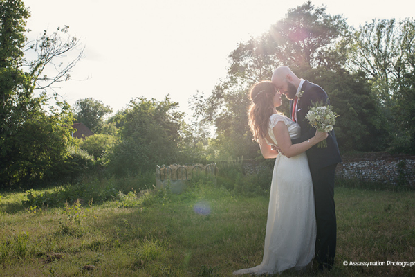 Couple in the grounds of Manor Mews - Barn Wedding Venue in Norfolk