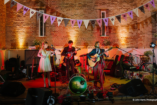 Live band playing at Manor Mews - Barn Wedding Venue in Norfolk
