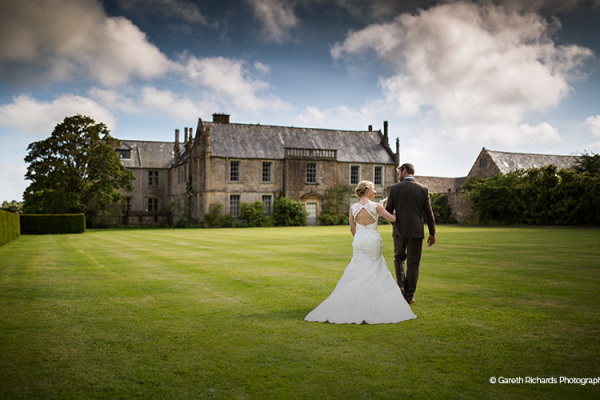 Couple in the grounds of Mapperton - Marquee Wedding Venue in Dorset
