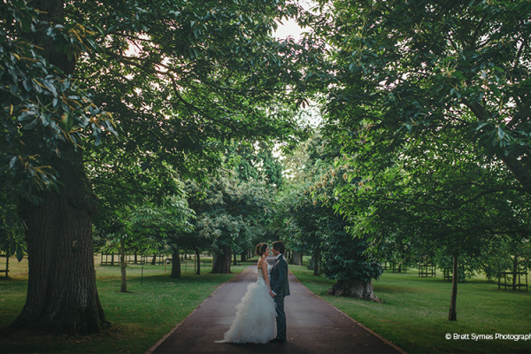 Couple in the grounds of Maunsel House - Country House Wedding Venue in Somerset