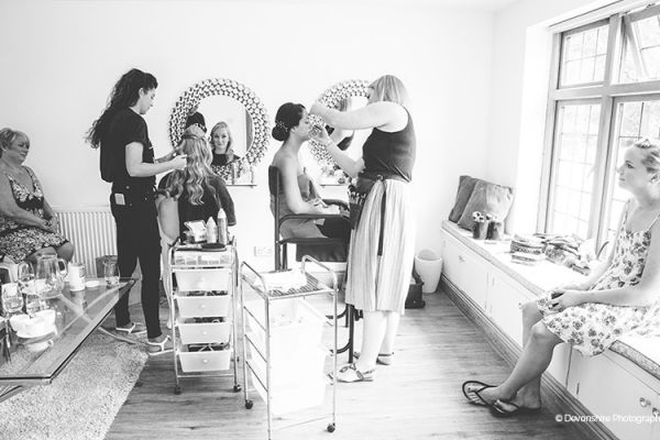The Pamper Room at Rivervale Barn is perfect for you to get ready in.  Here the bride and bridesmaids have their wedding makeup done.