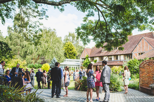 Make the most of the outdoor space at this Hampshire wedding venue. Guests enjoy a drinks reception in the gardens.