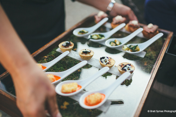 A close up of amazing wedding food - wedding canapes.