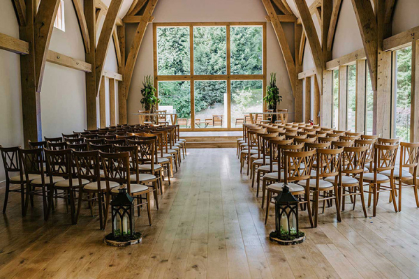 Set up for a wedding ceremony at The Mill Barns wedding venue in Shropshire | CHWV