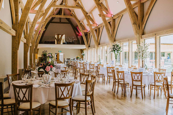 Set up for a wedding breakfast at The Mill Barns wedding venue in Shropshire | CHWV