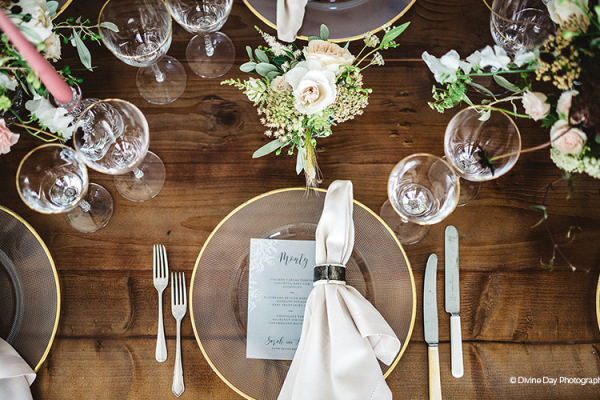 Rustic table decorations at Alrewas Hayes wedding venue in Staffordshire | CHWV