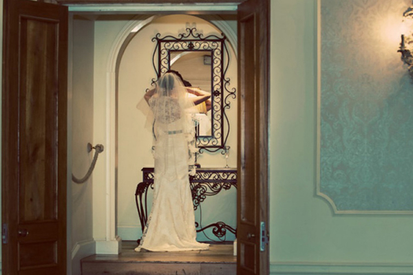 A bride getting ready at Alrewas Hayes - Staffordshire wedding venue
