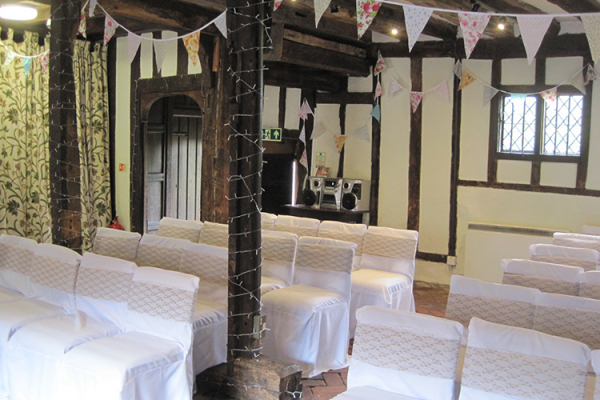 Set up for a wedding ceremony at Anne of Cleves House wedding venue in East Sussex | CHWV