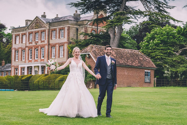 Just married couple in the grounds at Ardington House wedding venue in Oxfordshire | CHWV
