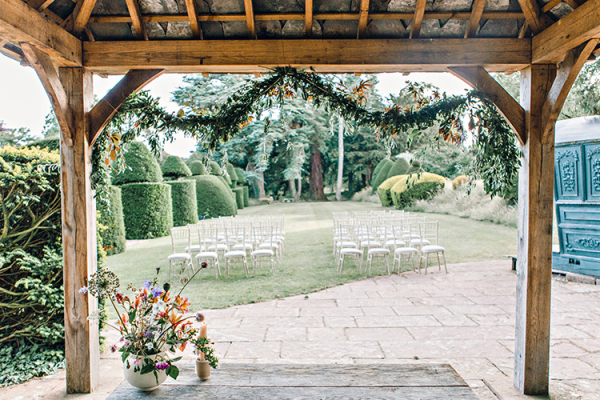 Set up for an outdoor wedding ceremony at Askham Hall wedding venue in Cumbria | CHWV