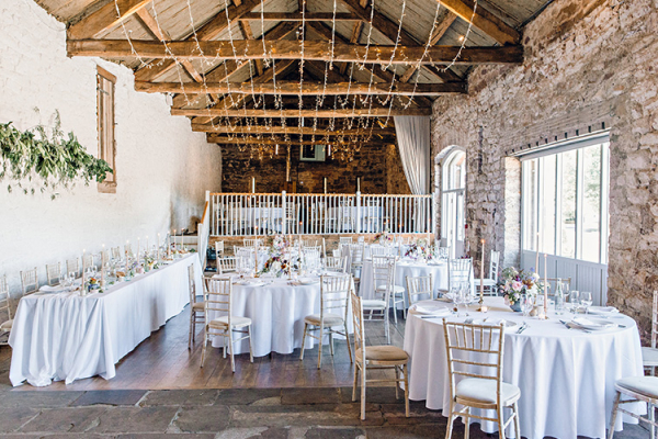Set up for a wedding breakfast at Askham Hall wedding venue in Cumbria | CHWV