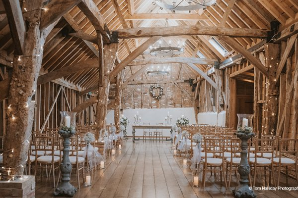 Set up for a wedding ceremony at Bassmead Manor Barns wedding venue in Cambridgeshire | CHWV