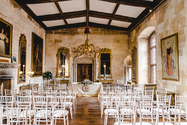 Set up for a wedding ceremony at Berkeley Castle wedding venue in Gloucestershire | CHWV