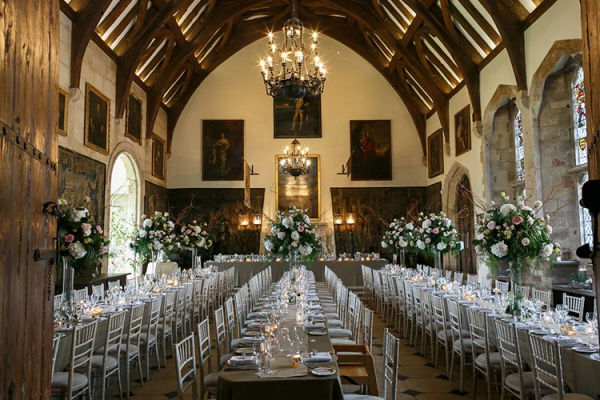 Set up for a wedding breakfast at Berkeley Castle wedding venue in Gloucestershire | CHWV