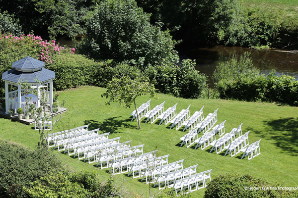 Set up for an outdoor wedding in the beautiful gardens at Bickleigh Castle wedding venue in Devon | CHWV