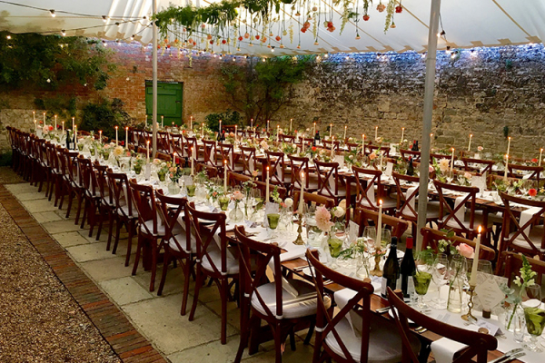 Set up for a wedding ceremony at Bignor Park wedding venue in West Sussex | CHWV