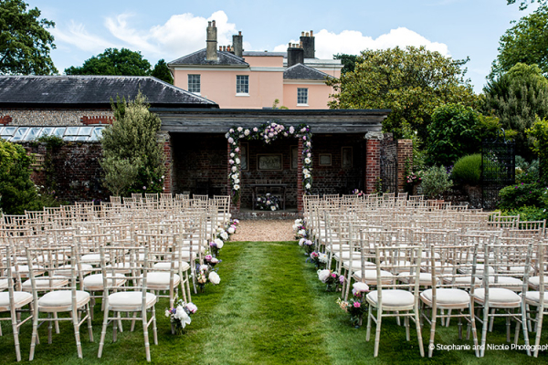 Set up for an outdoor wedding ceremony at Bignor Park wedding venue in West Sussex | CHWV
