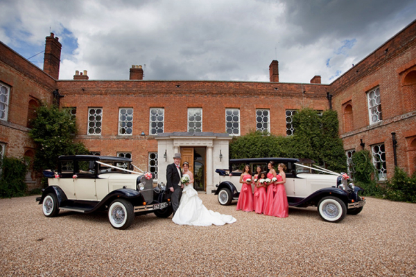 Wedding cars in the courtyard at Braxted Park in Essex | CHWV