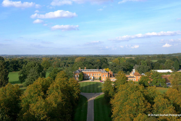 An aerial shot of the house and grounds at Braxted Park in Essex | CHWV