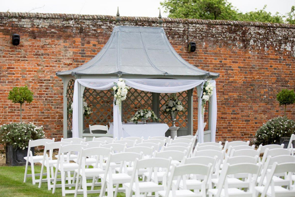 Set up for an outdoor ceremony at Braxted Park in Essex | CHWV