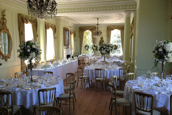 Set up for a wedding breakfast at Braxted Park in Essex | CHWV