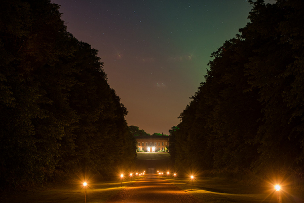 The driveway at Braxted Park in Essex at night | CHWV