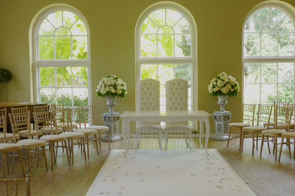 The Orangery set up for a ceremony at Braxted Park in Essex | CHWV