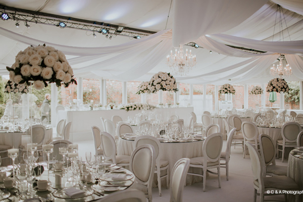 Set up for a wedding breakfast in the pavilion at Braxted Park country house wedding venue in Essex | CHWV