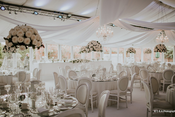 Set up for a wedding breakfast in the Pavilion at Braxted Park wedding venue in Essex | CHWV