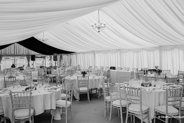Inside the grand marquee at Brewerstreet Farmhouse in Surrey | CHWV