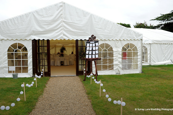 The entrance to the grand marquee at Brewerstreet Farmhouse in Surrey | CHWV