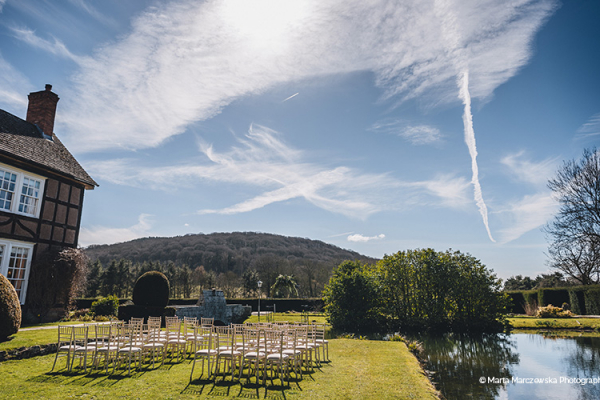 Set up for an outdoor ceremony at Brinsop Court country house wedding venue in Herefordshire | CHWV